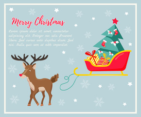 Holiday background with deer and sledge