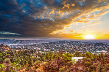 Wall Mural - Colorful sky over Los Angeles at sunset