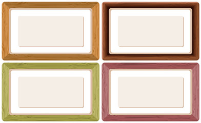 Four wooden frames in different colors