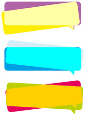 Three colorful banners on white background