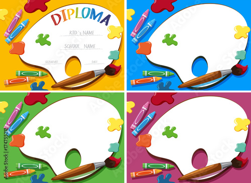 diploma and card template with crayons and paintbrush stock image