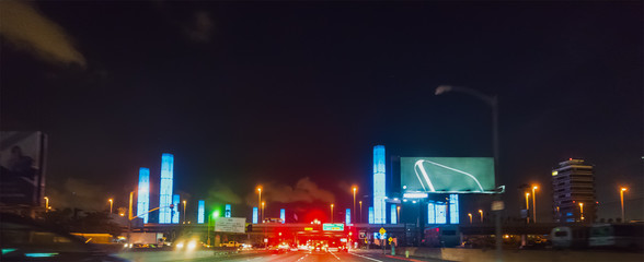 Driving through LAX pylons at night
