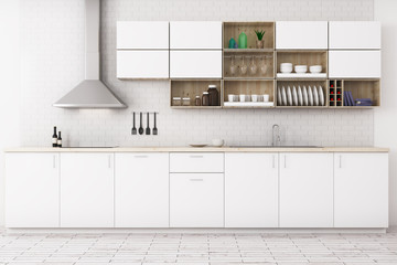 Wall Mural - Modern white kitchen