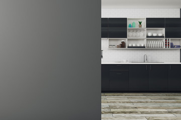 Stylish kitchen with empty banner