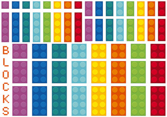 Different colors and sizes of blocks