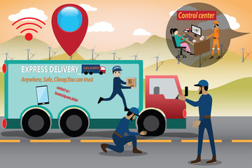 Smart Logistics concept,Terrible things on the road - vector