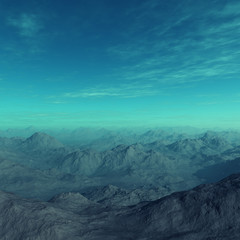 3d generated empty landscape: Misty mountains, deserted earth.