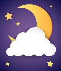 Moon and stars at night