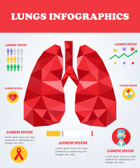 Lungs infographics. Medical concept. Health poster.