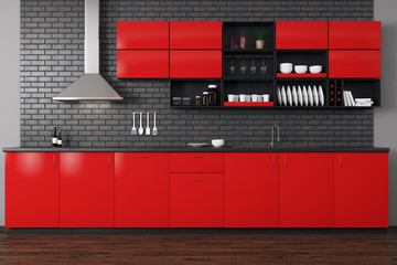 Wall Mural - Modern red kitchen