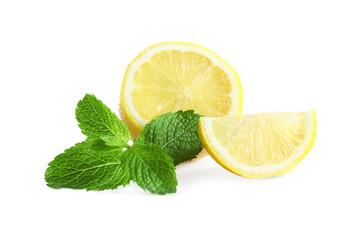 Fresh lemon and mint on white background