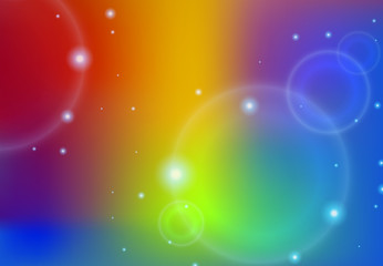 Background design with bubbles on rainbow background