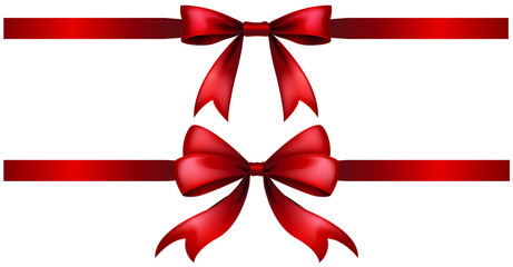 Two styles of red ribbon bow