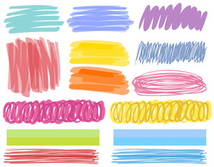 Different color strokes on white background