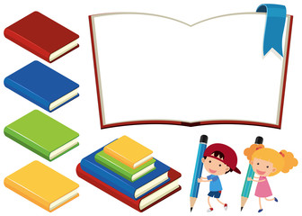 Books and happy children on white background