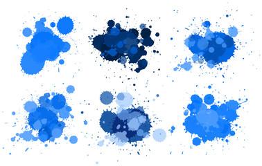 Different design fo watercolor splash in blue