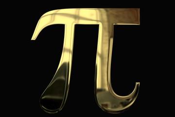 3D Pi Symbol mit Gold-Textur