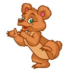 Cheerful Bear Dance cartoon illustration isolated image