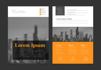 Business Flyer Layout with Orange and Gray Accents