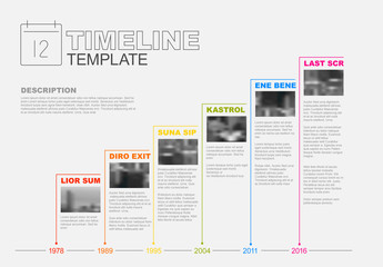 Colorful Stair-Step Timeline Infographic Layout