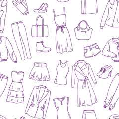 fashion clothes sketch seamless vector pattern