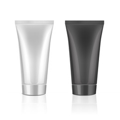Mock up cosmetic tube template for cream, gel, liquid, shampoo, foam. White and black colors on a white background. Beauty product package.