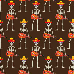 Skeleton in sambrero guitar seamless pattern. Skull Mexican repeating texture.Day of the Dead or the Halloween Endless Background. Vector illustration
