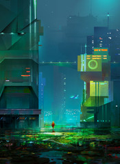 Drawing of cyberpunk. Sketch night a fantastic city of the future