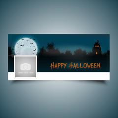 Fototapete - Halloween landscape timeline cover