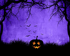 Fototapete - Halloween background with pumpkin on purple background