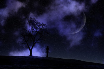 3D female walking against a moonlit night sky