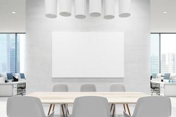 Close up of a conference room table, white, poster