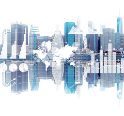 New York cityscape and its reflection, graphs