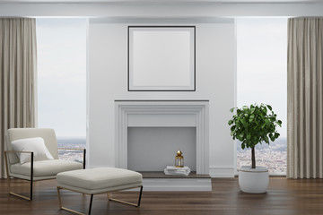 White living room, white armchair, fireplace