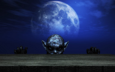 Fototapete - 3D zombie looking over a wooden table against a moonlit sky