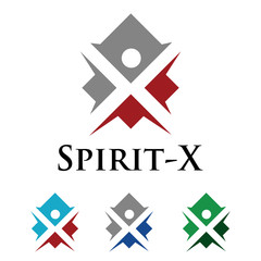 X - Abstract Man Spirit Logo Symbol Vector Template