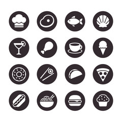 Restaurant food icon set