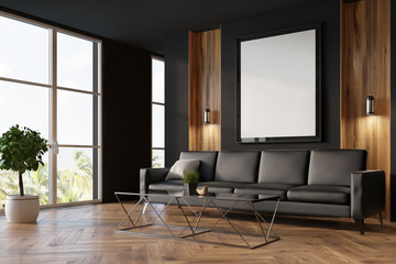 Black and wooden living room, sofa and poster