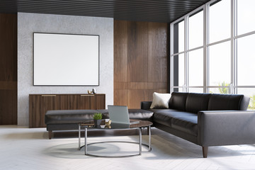 Gray and wooden living room, sofa and poster