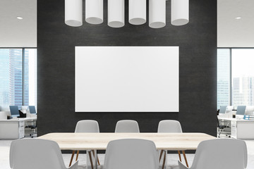 Close up of a conference room table, black, poster