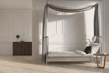 White wooden bedroom with a single bed