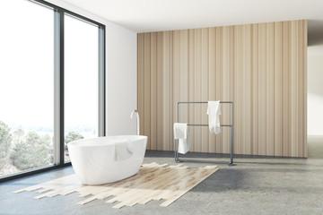 White and wooden bathroom, white tub, loft