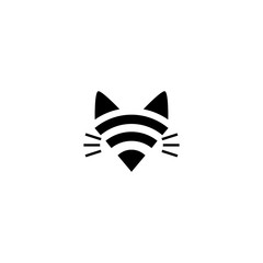 abstract cat wifi logo design
