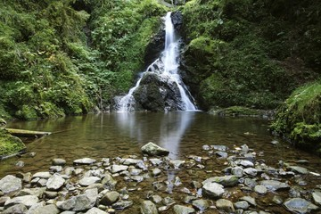Waterfall in Lotenbachklamm gorge, Black Forest, Wutachschlucht nature reserve, Baden-Wuerttemberg, Germany, Europe