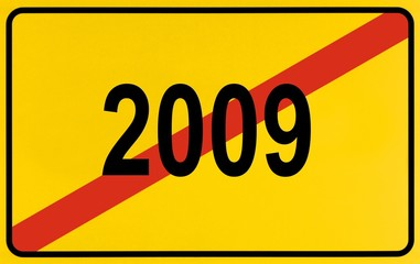 Sign city limits, symbolic image for the end of the year 2009