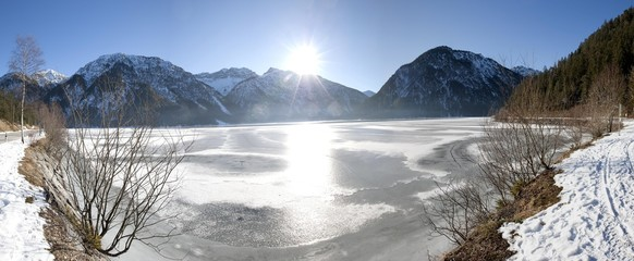 Frozen Lake Plansee, Tyrol, Austria, Europe