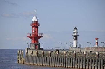 Lighthouses in Brunsbuttel, Kiel-Canal, Nord-Ostsee-Kanal, Schleswig-Holstein, Germany, Europe