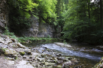 Wall of Muschelkalk, shellbearing limestone rock along the Wutach River in the Wutach Gorge Nature Reserve, Black Forest, Baden-Wurttemberg, Germany, Europe