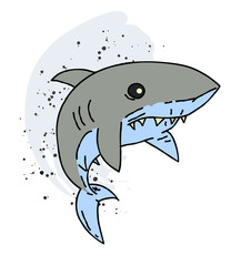 Shark cartoon hand drawn image. Original colorful artwork, comic childish style drawing.