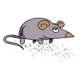 Mouse cartoon hand drawn image. Original colorful artwork, comic childish style drawing.